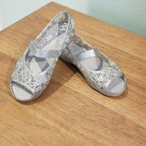 Girls Croc glittery sandals.